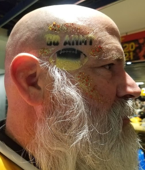 Army Navy Game Fan Face Paint Design airbrush