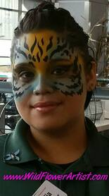Airbrush Tiger Cat face painting design