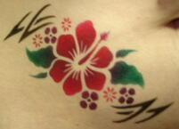 airbrush belly tattoo flowers
