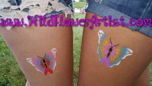 Cancer Ribbons within a butterfly tattoo