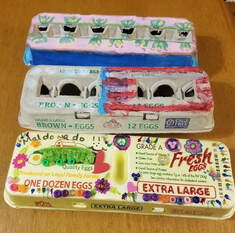 decorating egg cartons with encouraging quotes coronavirus covid-19 Face Painter Linda from WFA Face and body Art