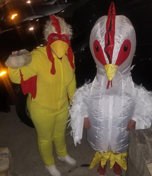 Woman dresses herself and son as chicken to deliver eggs during the coronavirus covid-19
