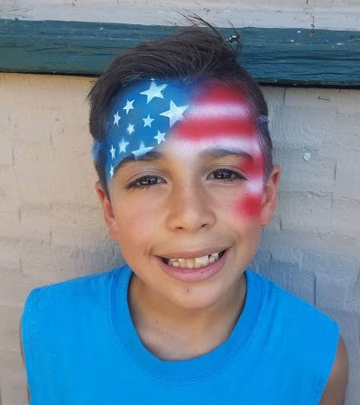 Patriotic American flag Face paint design airbrush
